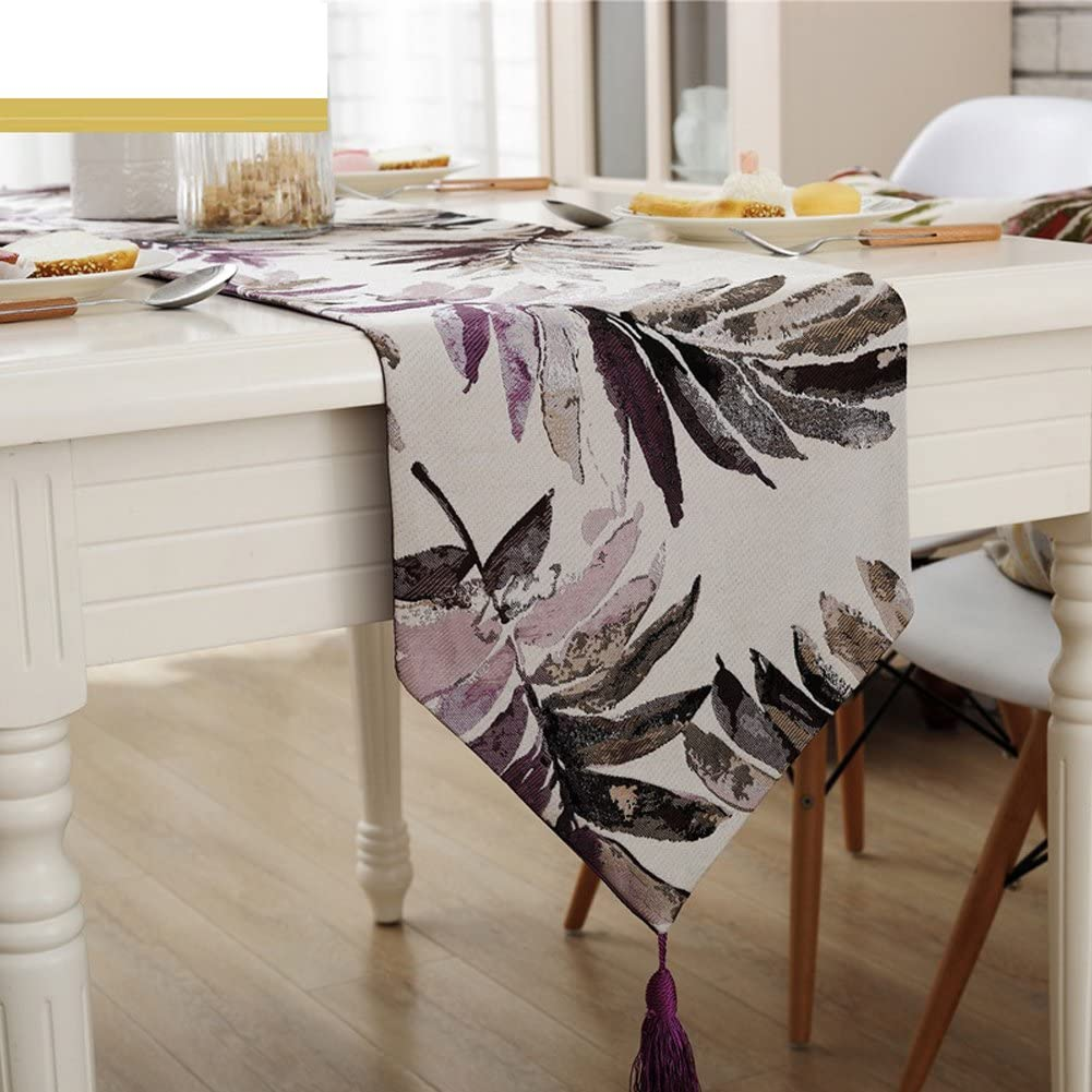 HOLY HOME Table Long Beach Mall Runner Tropical Popular Floral Rural Plant Leaf American