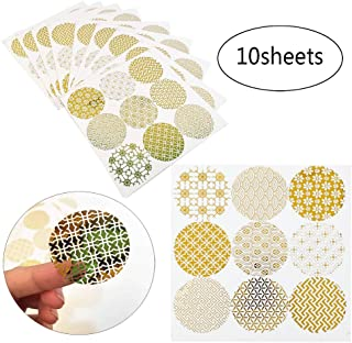 JKJF 10 Sheets Gold Circle Envelope Seals Stickers Label Stickers for Party Favor Bags, Gift Boxes, Holiday Decorations, Wedding Celebrations