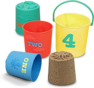 Melissa & Doug Sunny Patch Seaside Sidekicks Nesting Sand Pails, Great Gift for Girls and Boys – Best for 2, 3, and 4 Year Olds