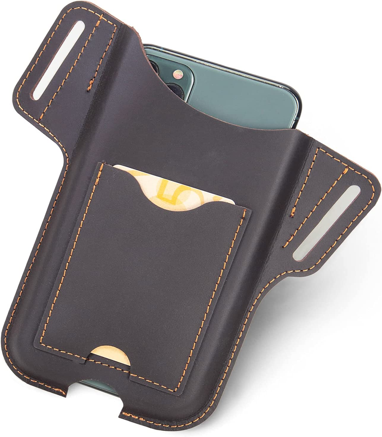 EASYANT Men Leather Phone Holster, Cell Phone Holster for Belt Loop, Waist Card Bag with Phone Belt Holster Pouch for iPhone Samsung Galaxy Brown