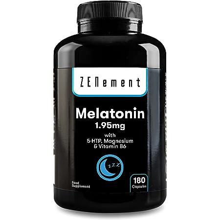 Melatonina 1,95 mg con 5-HTP, Magnesio y Vitamina B6, 180 Cápsulas   Ayuda con el insomnio o trastornos del sueño   Vegano, No-GMO, GMP, libre de aditivos, sin Gluten   de Zenement