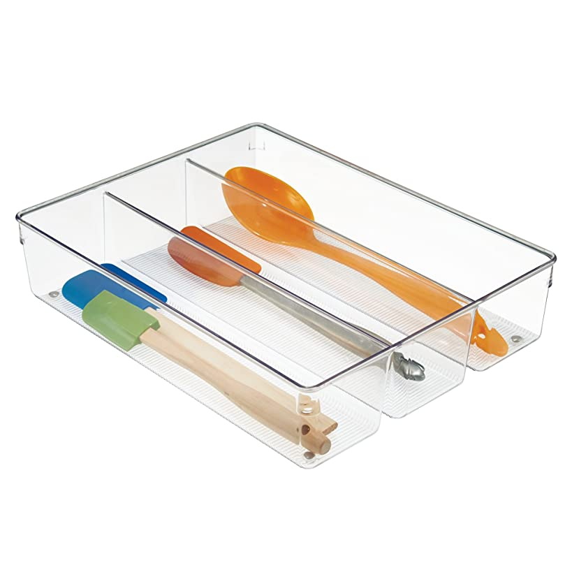 InterDesign Linus Plastic Grand Utensil Drawer Divided Organizer, Kitchen Storage Container for Spatulas, Whisks, Spoons, Knives, 13.8