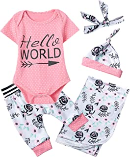 Newborn Baby Girl Hello World Outfit Polka Dot Floral Bodysuit with Blanket