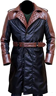 Assassin Creed Syndicate Michael Fassbender Brown Contrast Leather Trench Coat XXS to 3XL
