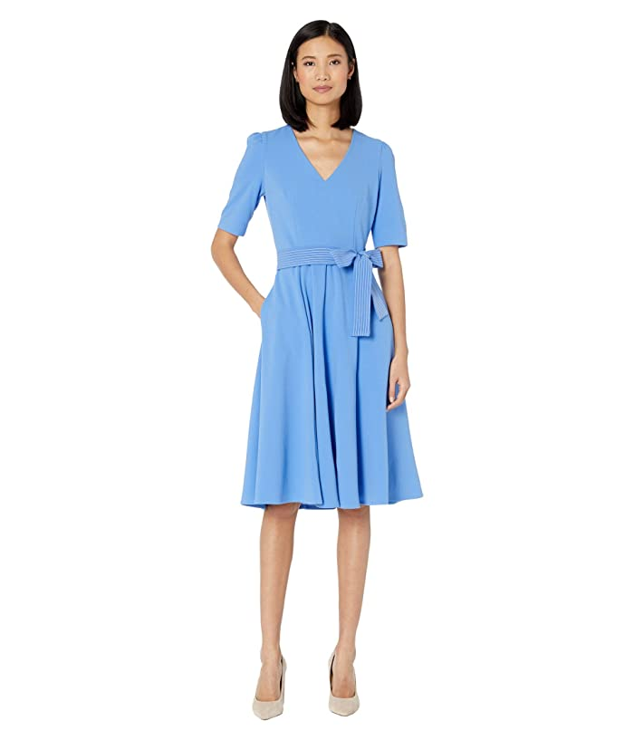 Donna Morgan  Short Sleeve High Twist Stretch Crepe Midi Dress (Blue Bonnet) Womens Clothing