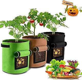 GEMGO Potato Grow Bags, 7 Gallon Fabric Flower Pots Garden Felt Grow Bags with Handle, Aeration Waterproof Fabric Sweet Potato Planting Vegetables, Fruit, Peanut, Carrot, Tomato, Onion