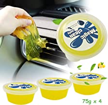 AnvFlik 4-Pack Car Interior Detailing Mud Cleaner, Reusable Universal Dust Magic Cleaning Gel for PC Tablet Laptop Keyboards, Cameras, Air Vents,Jelly Cup Lemon Flavor Cleaning Putty Slime 75g x 4