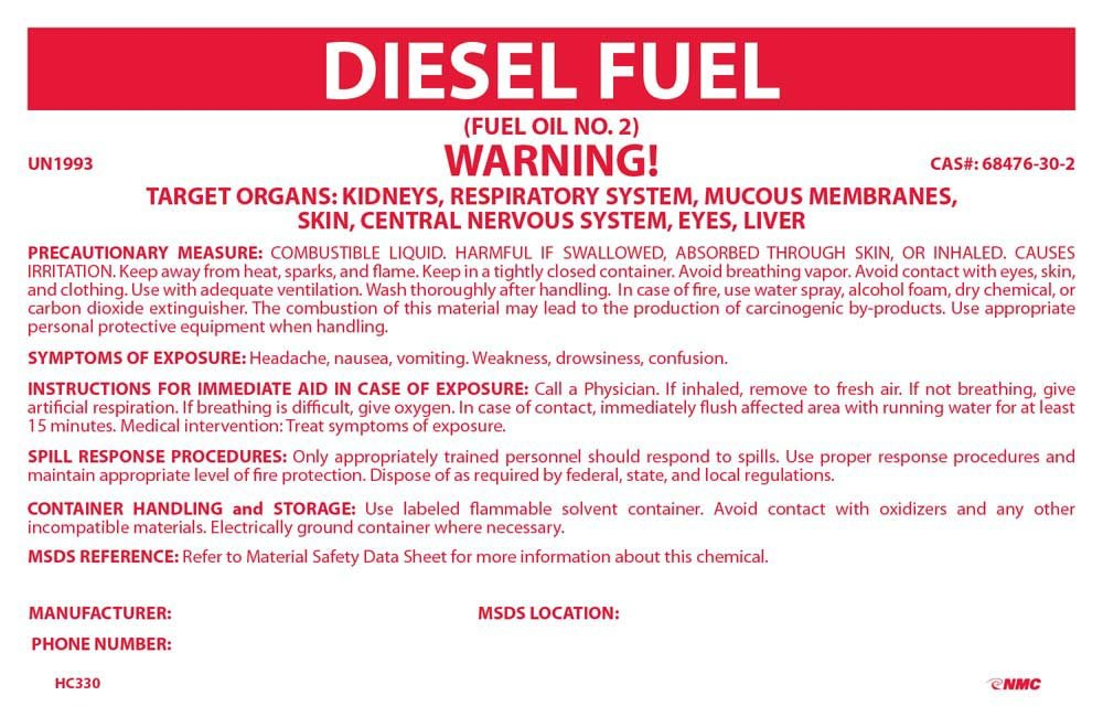 National Marker Corp. Outstanding Kansas City Mall HC330 Container Labels 3 Fuel Diesel 4 1