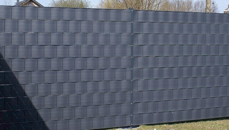 Gartenwelt Riegelsberger 10 Stück, Premium Sichtschutzstreifen Anthrazit 2525x190x1,35 mm