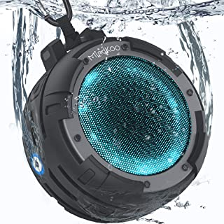Shower Speaker, Mindkoo IPX8 Waterproof Portable Bluetooth Wireless Speaker with 4 LED Light Modes, Built in Mic, Super Bass and HD Sound,for Bathroom, Bike, Beach, Pool, Home and Outdoor
