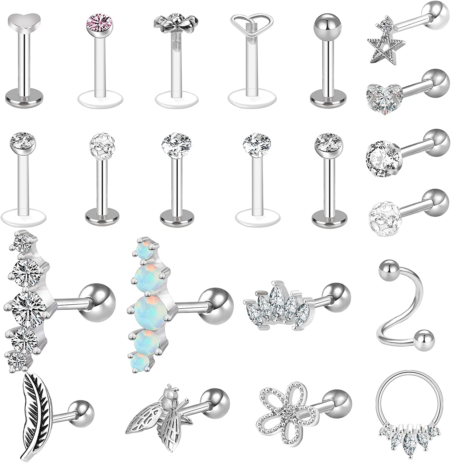 Mukum 22Pcs 16G Tragus Earrings for Women Cartilage Earrings Tragus Jewelry Forward Helix Earrings Hoop Rook Daith Conch Stainless Steel Piercing Jewelry