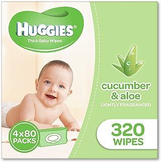 Huggies Aloe & Cucumber Baby Wipes, 320 Wipes (4 x 80 Pack)