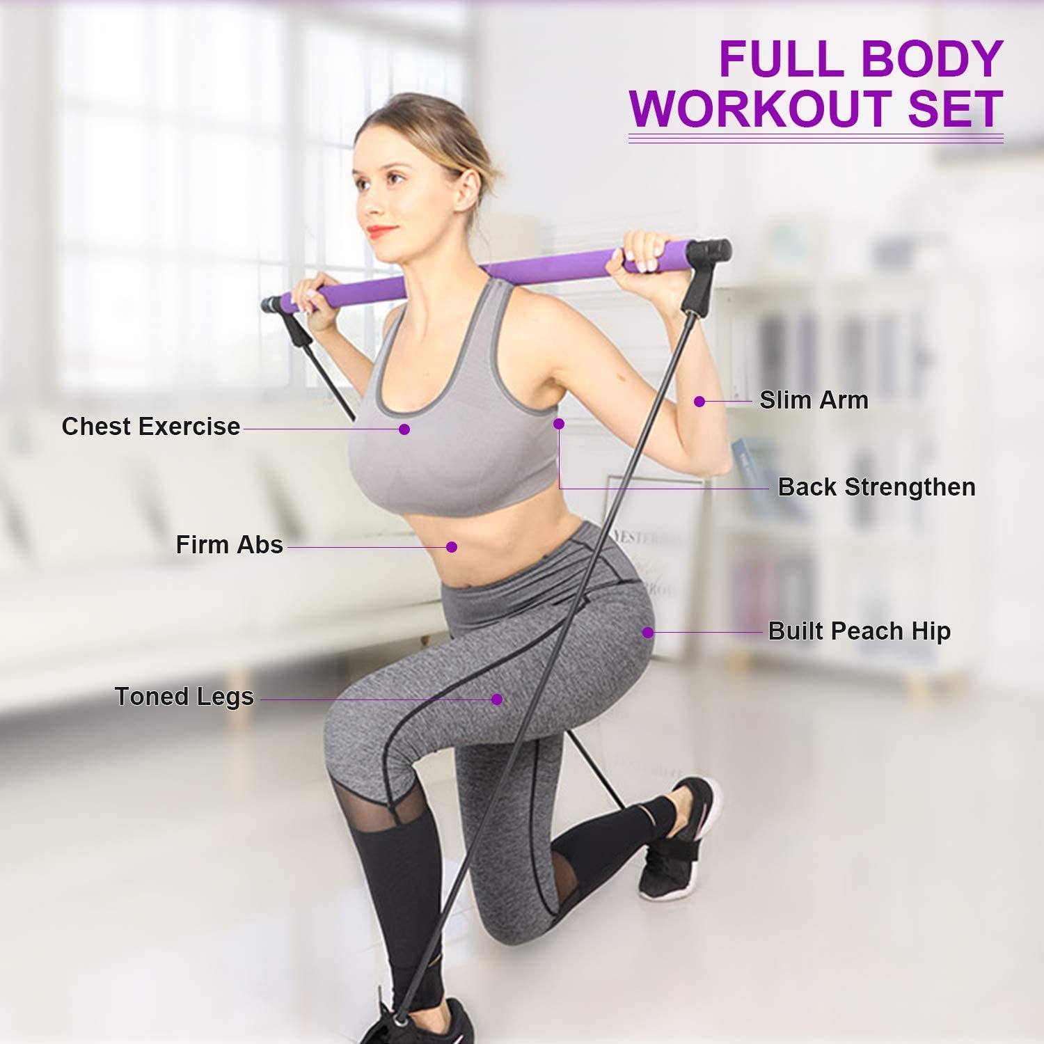Portable Yoga Pilates Stick Exercise Stick with Foot Loop Fitness Stretching Equipment Home Gym Bodybuilding for Fully Body Workout COVVY Pilates Bar Kit with Resistance Band