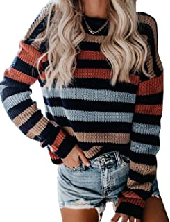 Sweetnight Women's Long Sleeve Crew Neck Color Block Striped Casual Knitted Loose Pullover Sweaters Tops