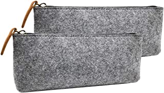 CHuangQi Big Capacity Felt Pencil Case & Pen Bag(Pack of 2), Zipper Pencil Pouch, Stationery Pouch, Home School Office Sup...