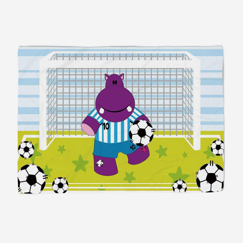 YOLIYANA Blanket Bedspread Soft Fleece Throw Blanket 59x49 inches Sports Decor,Cute Hippopotamus Soccer Goal Keeper Football Cartoon Print,Apple Green Baby bluee Purple