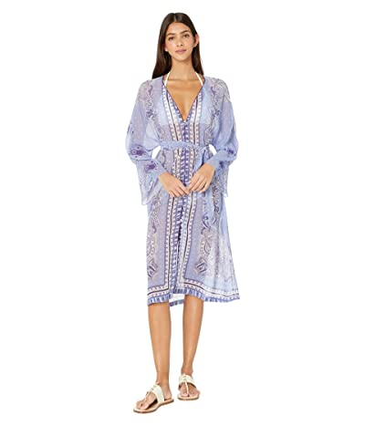 Etro Sheer Long Sleeve Cover-Up Dress (Navy) Women
