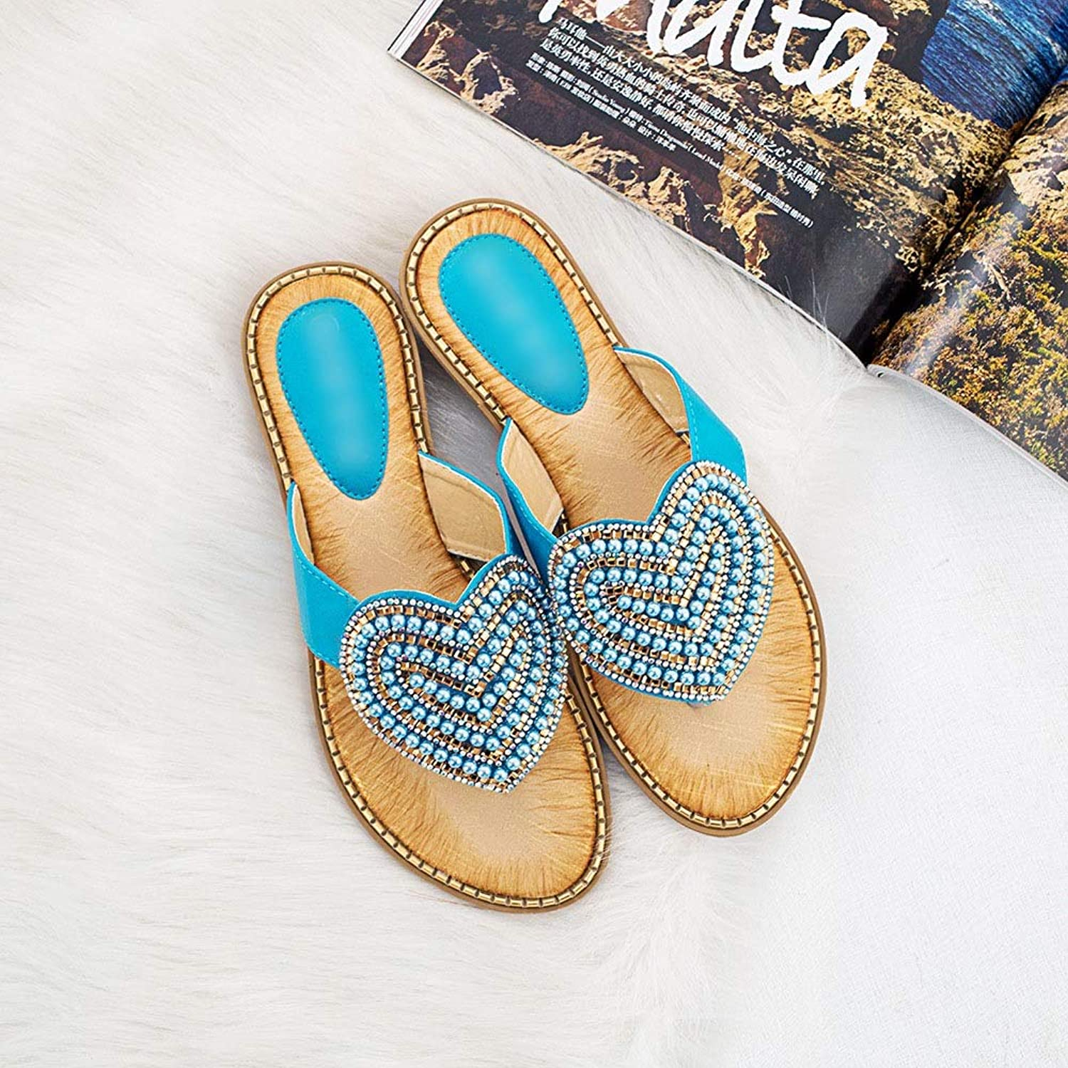 WENNEW Breathable Sandals Rhinestone Pearl Women's shoes Toe Sandals Fashion shoes