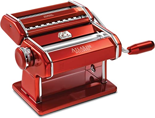 Marcato Atlas 150 Machine, Made in Italy, Red, Includes Pasta Cutter, Hand Crank, and Instructions
