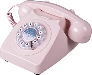 Wild Wood Rotary Design Retro Landline Phone for Home Antique Dusty Pink