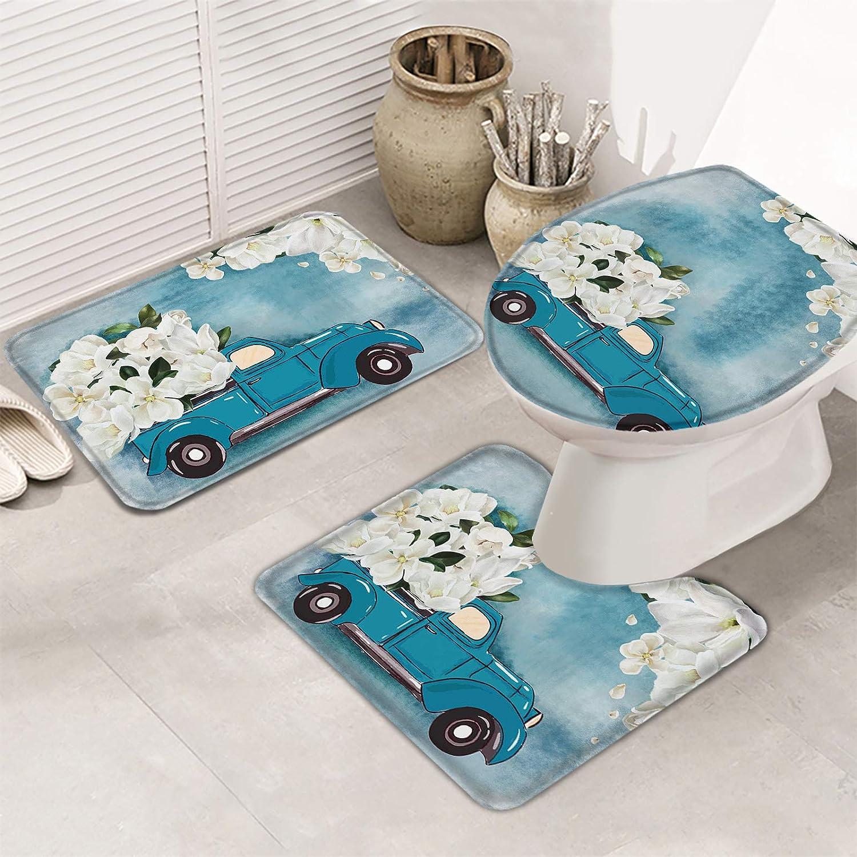 MuswannaA 3 Piece High quality Bathroom Rugs Set Blue Mat Magnolia White Bath Max 75% OFF