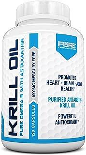 Krill Oil 1000mg with Astaxanthin 120 Caps Omega 3 6 9 - EPA DHA - 100% Purified, Mercury Free and Wild Caught - Non GMO - Gluten Free - Pure Krill Oil - Mega Dose Phospholipids (120 Capsules)