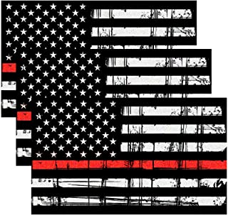 Creatrill Reflective Tattered Thin Red Line Decal Matte Black – 3 Packs 3x5 in. American USA Flag Decal Stickers for Cars, Trucks, Hard Hat, in Support of Firefighters and EMTs
