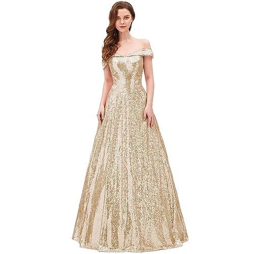 fd69c430784 YIRENWANSHA 2019 Off Shoulder Prom Dress for Women Long Sequin Manual Beaded  Formal Gown SHPD41