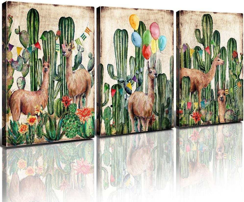 Boho Cactus Wall Art Llama Canvas Prints Bedroom Decor Mexico Desert Alpaca Framed Painting Set of 3 Pcs Watercolor Brown Tropical Plant Picture Teenage Girls Nursery Bathroom Home Decoration 12x16