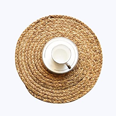 CY SISTERS 14Inch Woven Placemats Round Placemats Wicker Placemats Set of 6 Farmhouse Circle Placemats Rustic Place Mats Indo