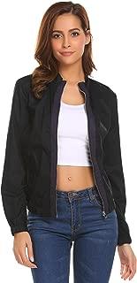 Zeagoo Womens Lightweight Patchwork Stand Collar Zip Up Jacket