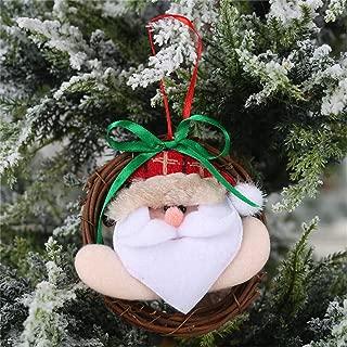 DJPWdiko Santa Deer Rattan Doll Ornaments Bow-Knot Circle Christmas Tree Pendant Hanging Ornament New Year Xmas Party Decoration 01-Santa Claus