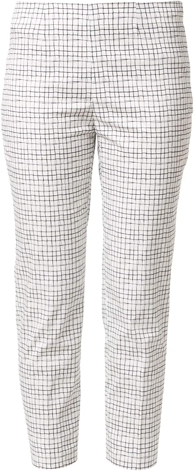Piazza Sempione Womens Ivory Check Wear to Work Pants Size 48 Waist