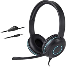 Cyber Acoustics 3.5mm Stereo Headset with Headphones and Noise Cancelling Microphone for PCs, Tablets, and Cell Phones in The Office, Classroom or Home (AC-5002A)