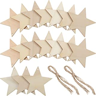 Wooden Star Cutouts Christmas Star Wooden Ornaments Hanging Ornaments with Ropes for Embellishments, Wedding, DIY, Craft, Festival (50 Pieces)