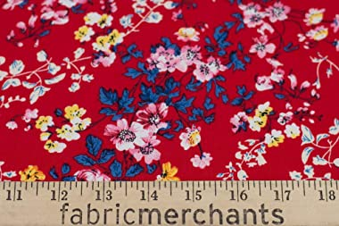Fabric Merchants Rayon Challis Floral Bouquet Fabric by The Yard, Red/Blue 5 Yards