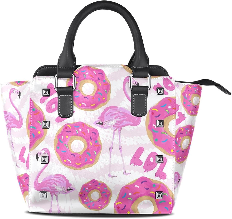My Little Nest Women's Top Handle Satchel Handbag Pink Flamingos Donut Ladies PU Leather Shoulder Bag Crossbody Bag