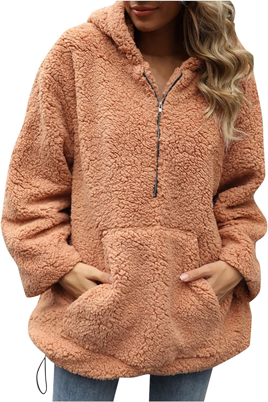 Rovga Women's Warm Winter Hoodies Fleece Sweatshirts Long Sleeve Loose Zip Up Solid Pullovers Coat With Pocket
