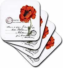 3dRose Carte Postale Vintage Poppy - Soft Coasters, Set of 4 (CST_178830_1)