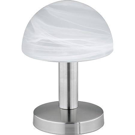 """Trio-Leuchten 599000107 Lampe de table en Nickel Mat, Fonction """"touch-me"""" (Interrupteur à 4 positions, 3 niveaux de luminosité), Verre Blanc Albâtre, Exclusif 1xE14 max. 40W, Hauteur 21 cm"""