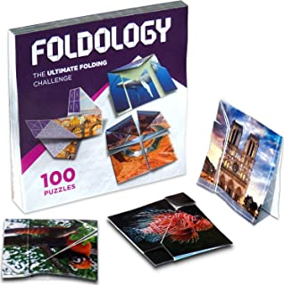 Foldology - Origami Puzzles, Fun Folding Brain Teasers for Teens & Adults, Hands-On Logic Game, 100 Challenges
