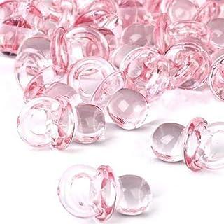 Istloho 50x Mini Sucettes Décorations pour Baptême Fête Douche de Bébé Acryl, biberon Pink