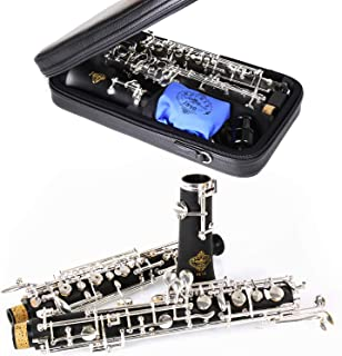 Rochix Oboe Beginner Student Level SF15 Composite Wood Body Silver Plated Full Automatic C Tone with 2 Reeds,1 Cleaning Cl...