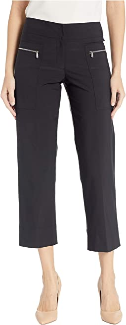 Premium Performance Stretch Crop Pants with Zipper Pocket Details