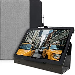kwmobile Tablet Case for Huawei MediaPad T5 10 - PU Leather and Canvas Stand Cover with Stylus Holder - Grey/Black