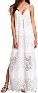 Women Strap Dress V-Neck Plus Size Lace Detail Casual Maxi Long Dress