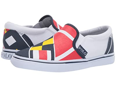 Polo Ralph Lauren Kids Landyn (Little Kid) (Red/Navy/Yellow/White Sail Print/White Canvas) Boy