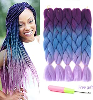 Ombre Kanekalon Braiding Hair X-pression Hair Extensions Synthetic Hair Extensions for Box Braids and Twist Braids Hair 24inch Purple Blue Pink Afro Jumbo Braiding (5Pcs/Lot 100g/pc 24inch)