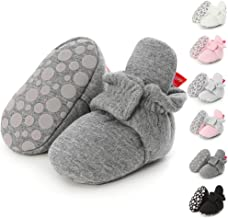 Sawimlgy Infant Baby Girl Boy Cotton Booties Soft Stay On Slippers Shoes Non-Skid Sock Boots Grippers Newborn Toddler Crib Winter Shoe First Gift