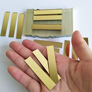 Small Glass Rectangle Craft Mirrors, 3/8x2inch Rectangle Mosaic Tiles,Glass Mirror Mosaic 100PCS (Yellow Gold)